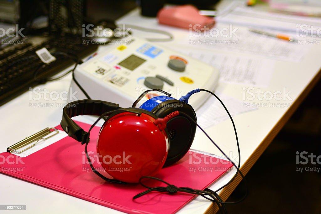 Hearing check equipment stock photo