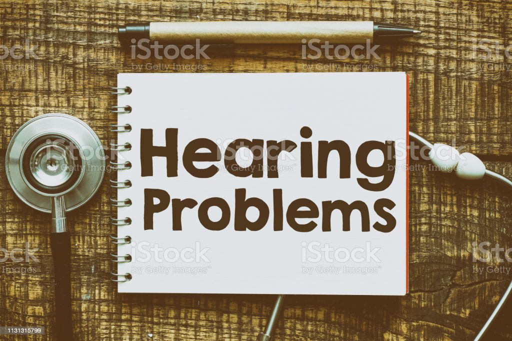 Hearing problems text concept stock photo
