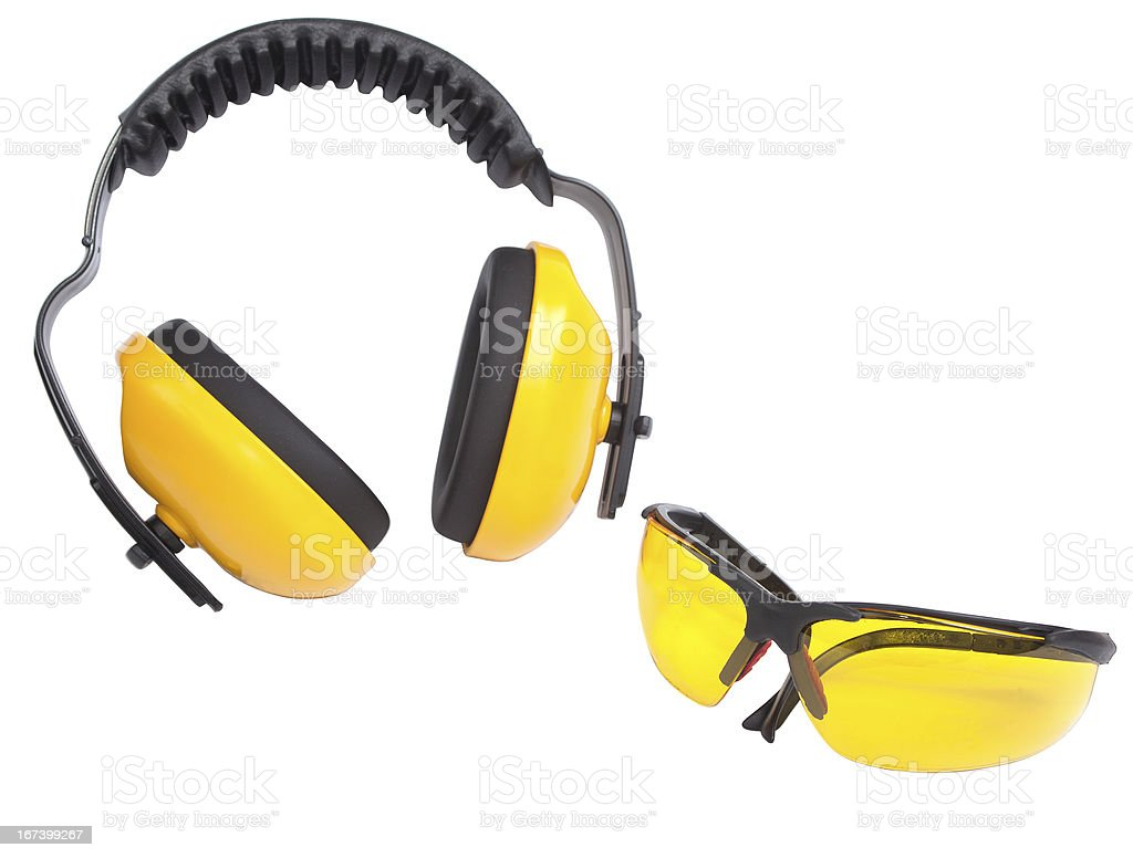 Hearing protection ear muffs and eyewear stock photo