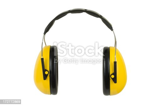 Hearing protection ear muffs, isolated on white.