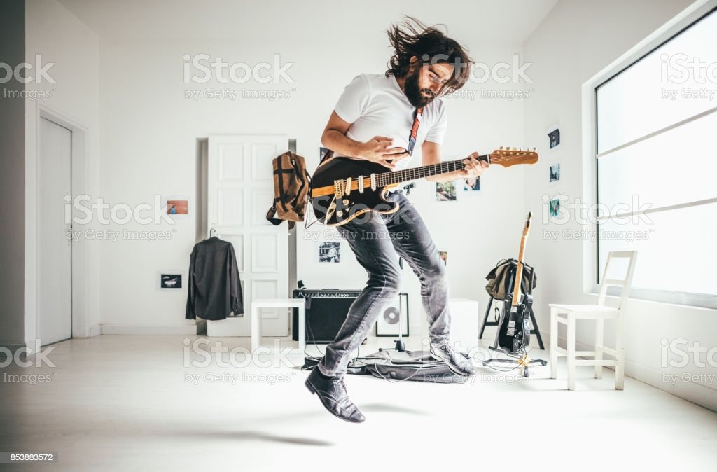 Hearing the music, honing the mind... stock photo