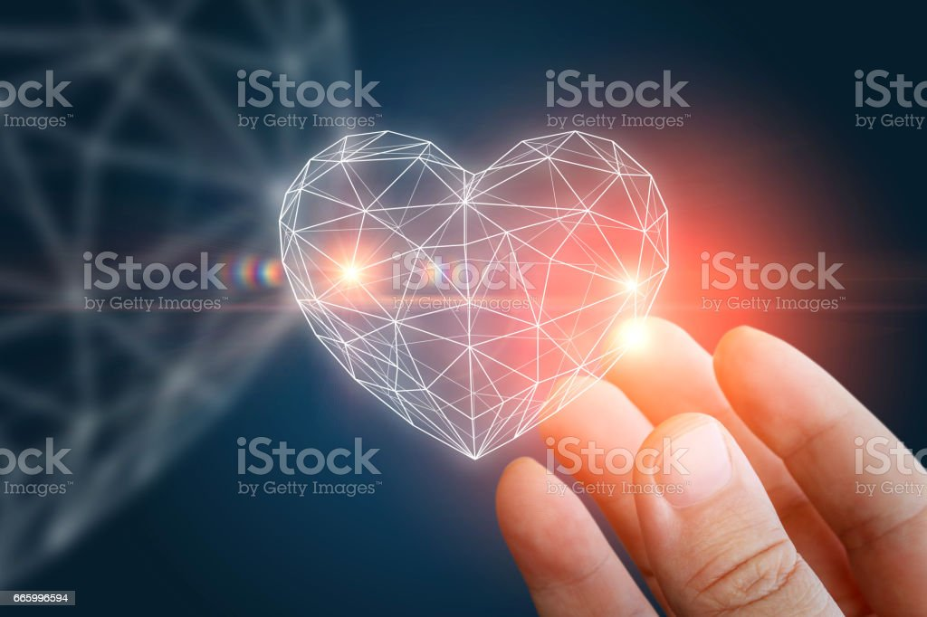 Heart abstract shape in the hand. stock photo