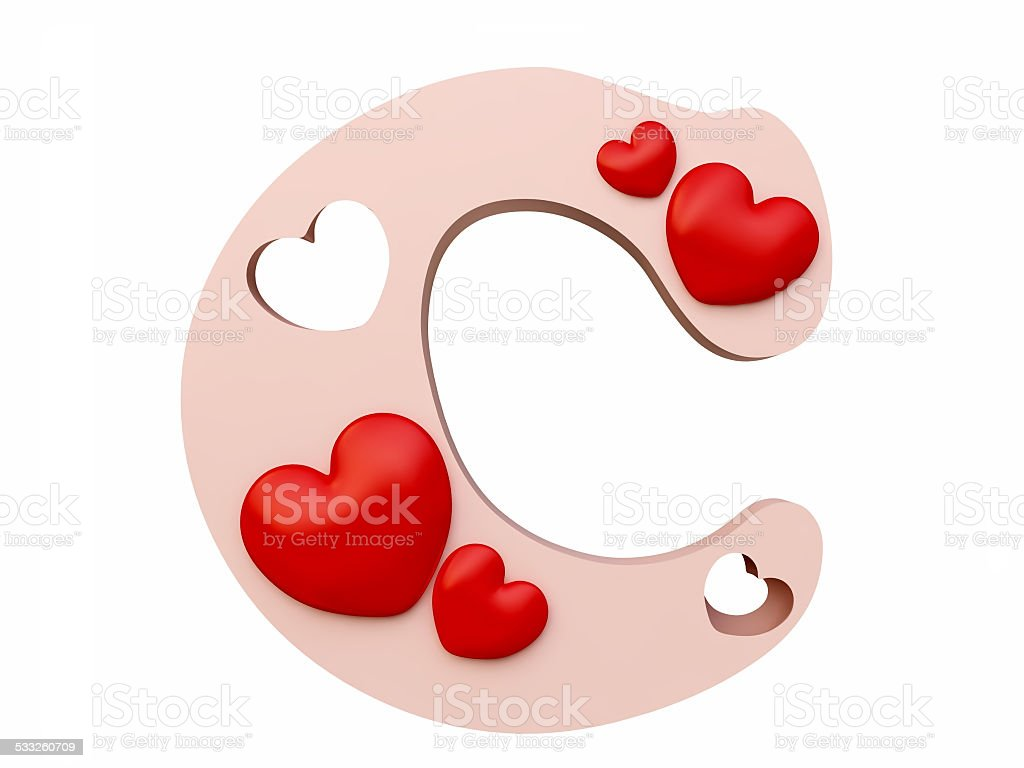 Heart Alphabet Letter C Royalty Free Stock Photo