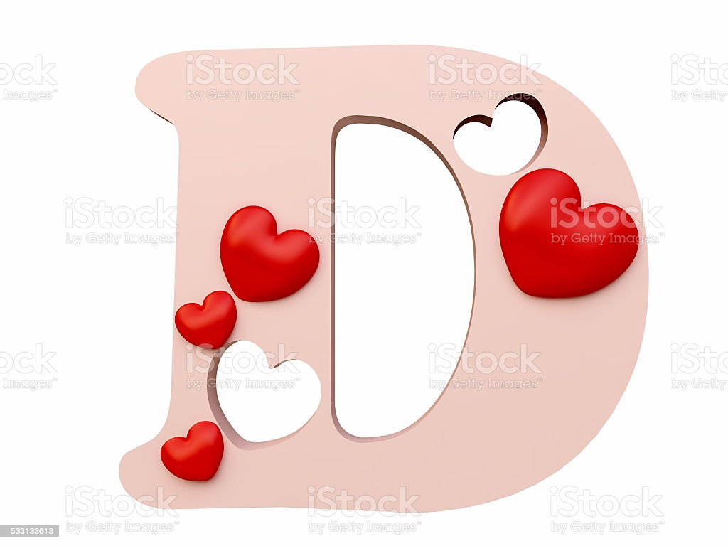 Heart Alphabet Letter D Royalty Free Stock Photo