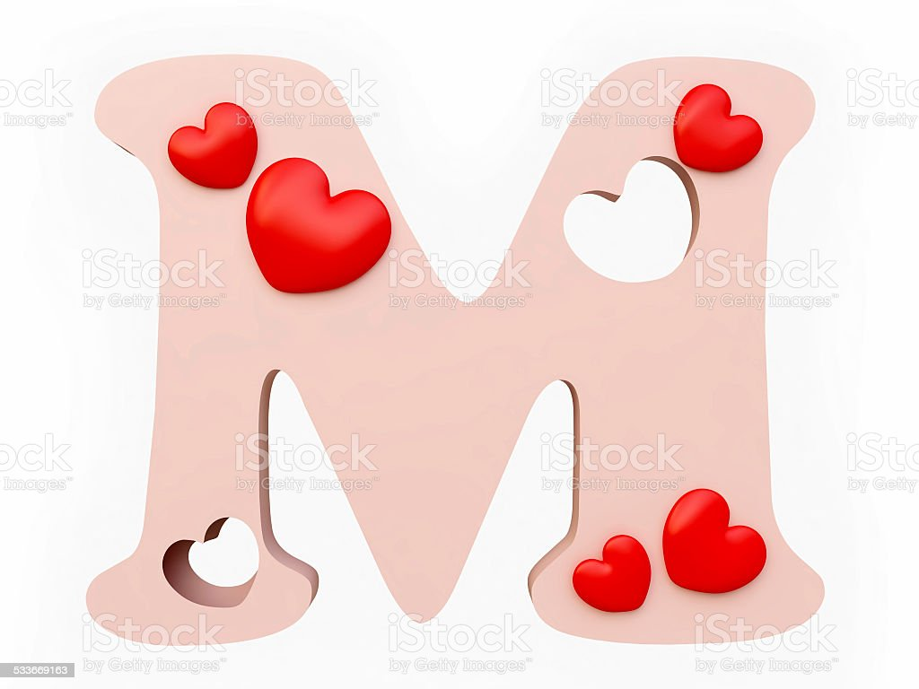 Heart Alphabet Letter M Stock Photo & More Pictures of 2015 | iStock