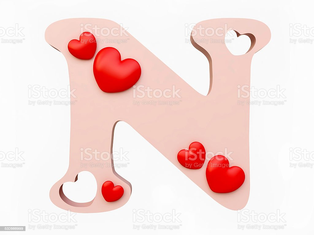 Heart Alphabet Letter N Royalty Free Stock Photo