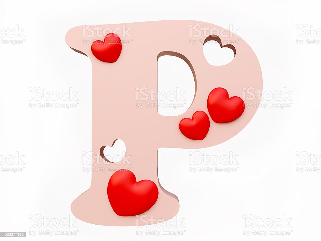 Heart Alphabet Letter P Royalty Free Stock Photo