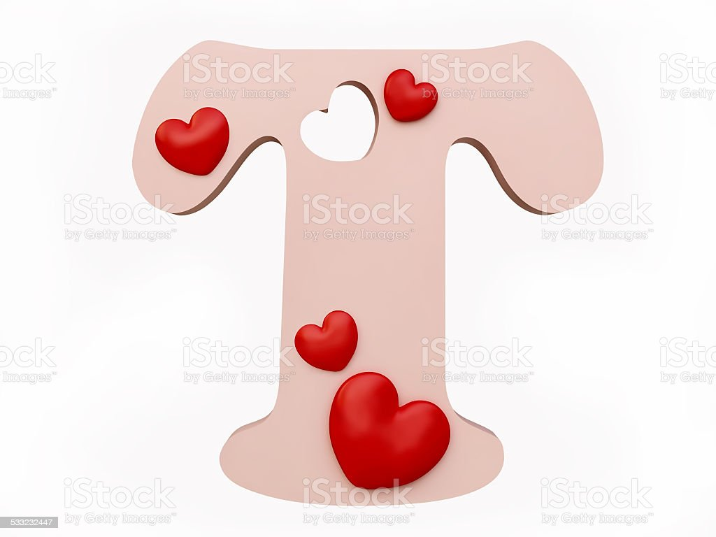 Heart Alphabet Letter T Royalty Free Stock Photo
