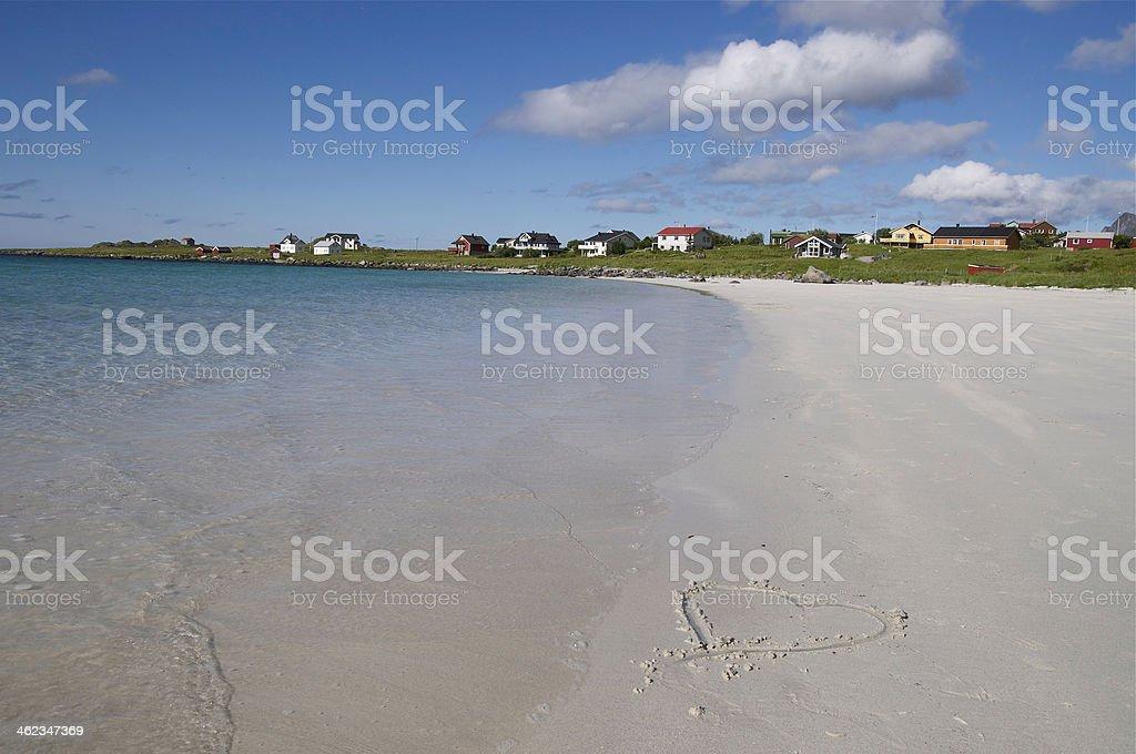 Heart an Lofoten beach stock photo