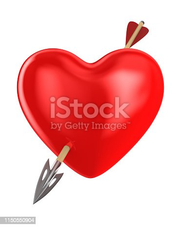 970844120 istock photo heart and arrow on white background. Isolated 3D illustration 1150550904