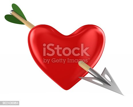 970844120 istock photo heart and arrow on white background. Isolated 3D illustration 902406984