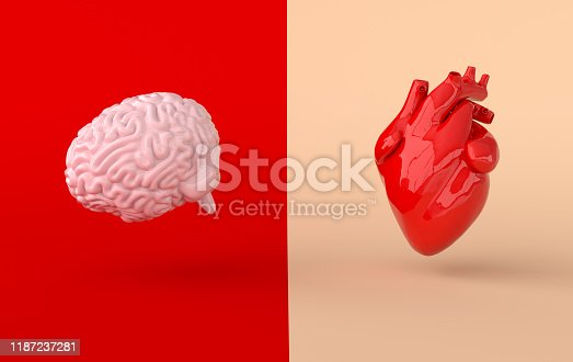 istock Heart and brain 3d rendering. Emotions and rational thinking conflict concept. Soul and intelligence balance 1187237281