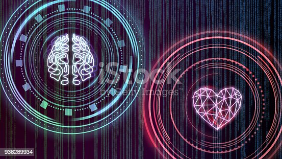 istock Heart and brain. Digital interface 936289934