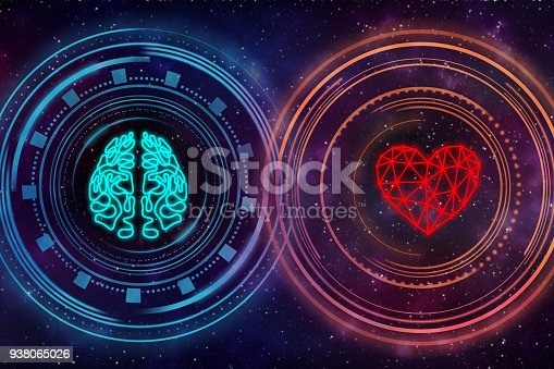 istock Heart and brain. Digital interface. 938065026