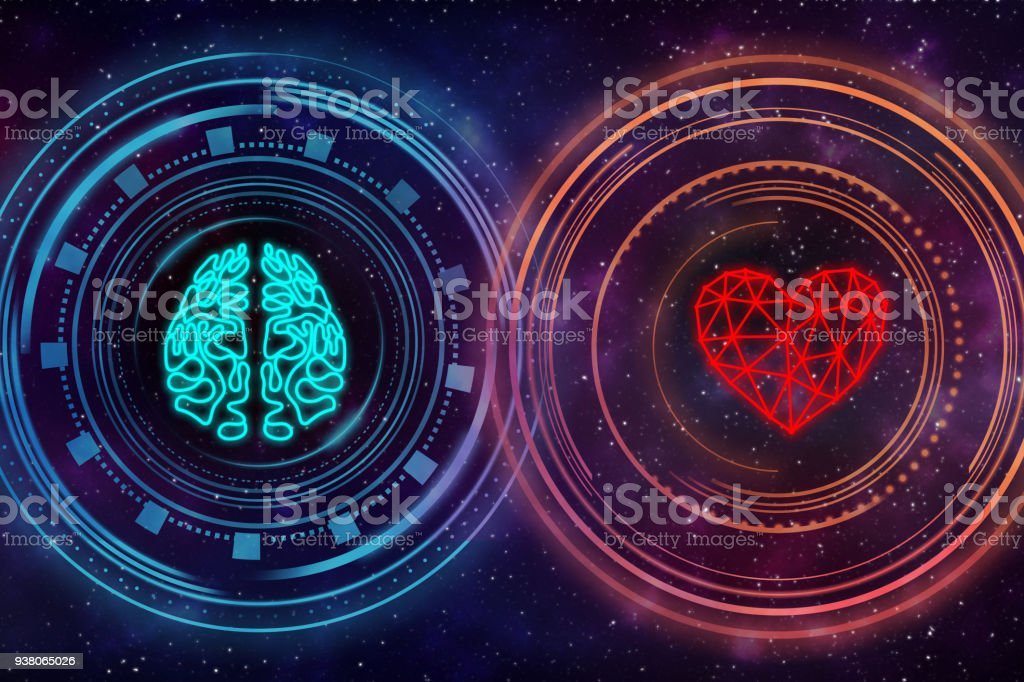 Heart and brain. Digital interface. stock photo