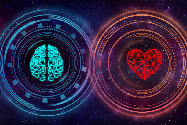 heart and brain. digital interface. - active brain imagens e fotografias de stock
