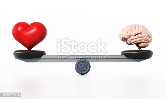 Heart and brain standing at the opposite sides of the seesaw. standing in perfect balance.