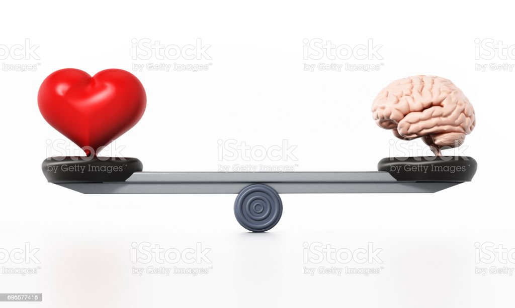 Heart and brain standing at the opposite sides of the seesaw - foto stock