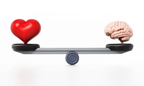 Heart and brain standing at the opposite sides of the seesaw stock photo
