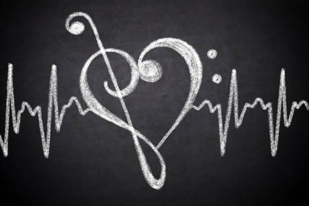 linha do coração e eletrocardiograma - desenhos de notas musicais - fotografias e filmes do acervo