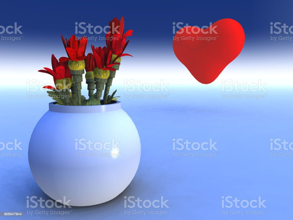 Heart and Flowers stock photo
