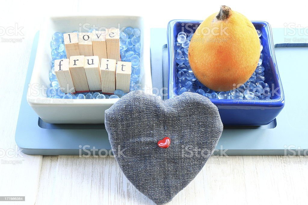 Heart and fruit stock photo