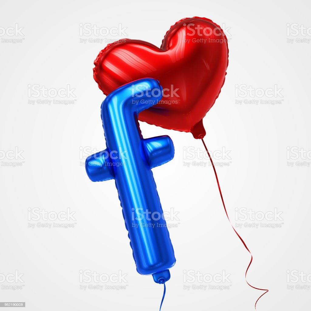 Heart and Letter f shaped Balloons Floating in perspective view - Stock Image stock photo