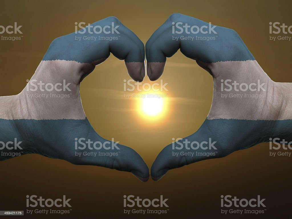 Heart and love gesture colored in el salvador flag stock photo