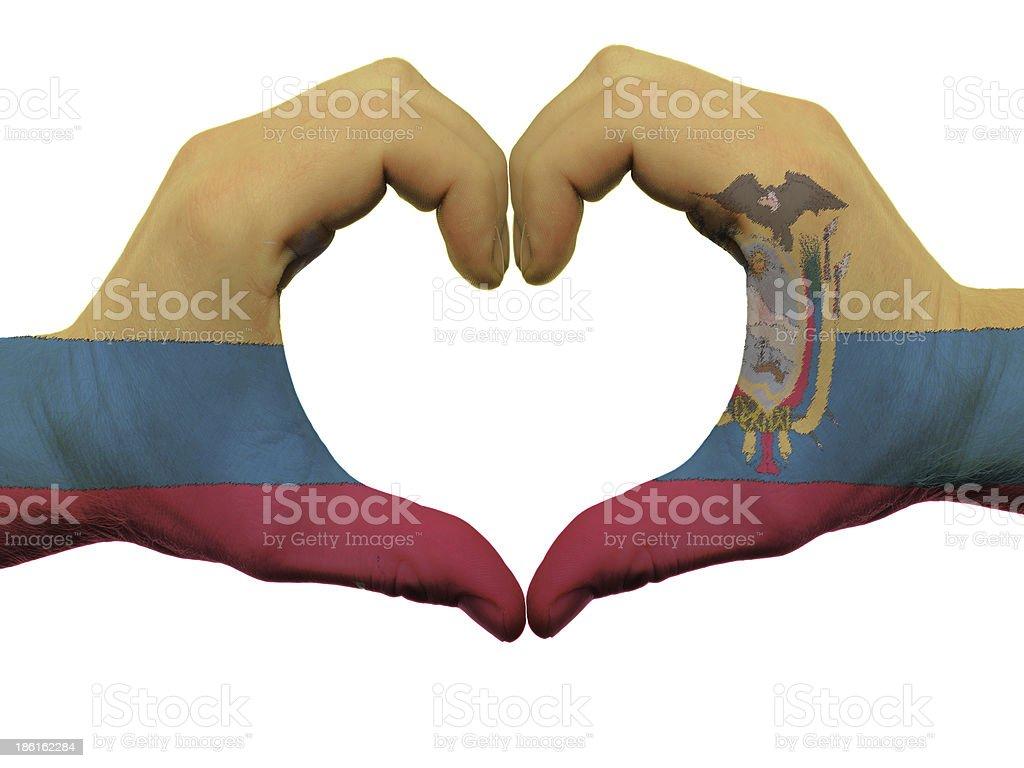 Corazón y amor gesto en ecuador bandera colores de las manos - foto de stock