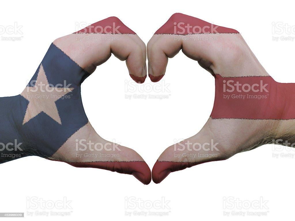Corazón y amor gesto en puerto rico, bandera colores - foto de stock