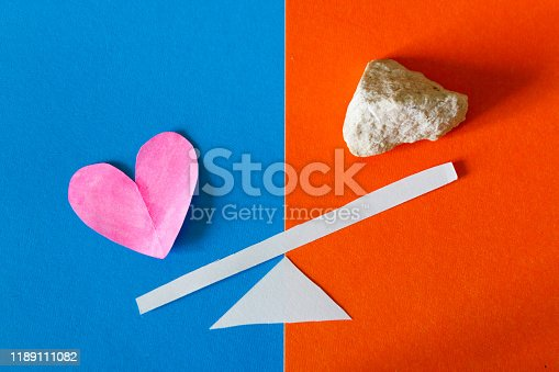 istock Heart and stone on scale 1189111082