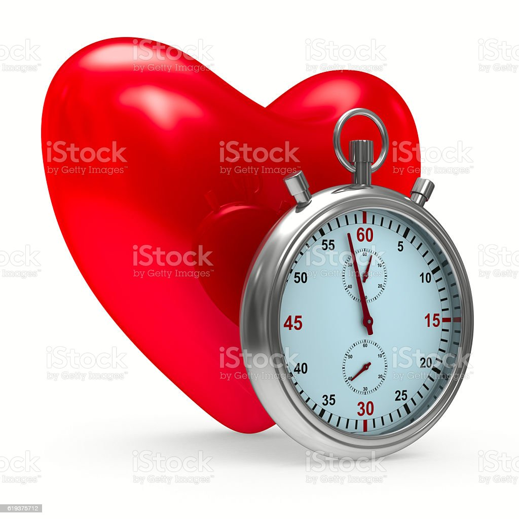heart and stop watch on white background. Isolated 3D image stock photo