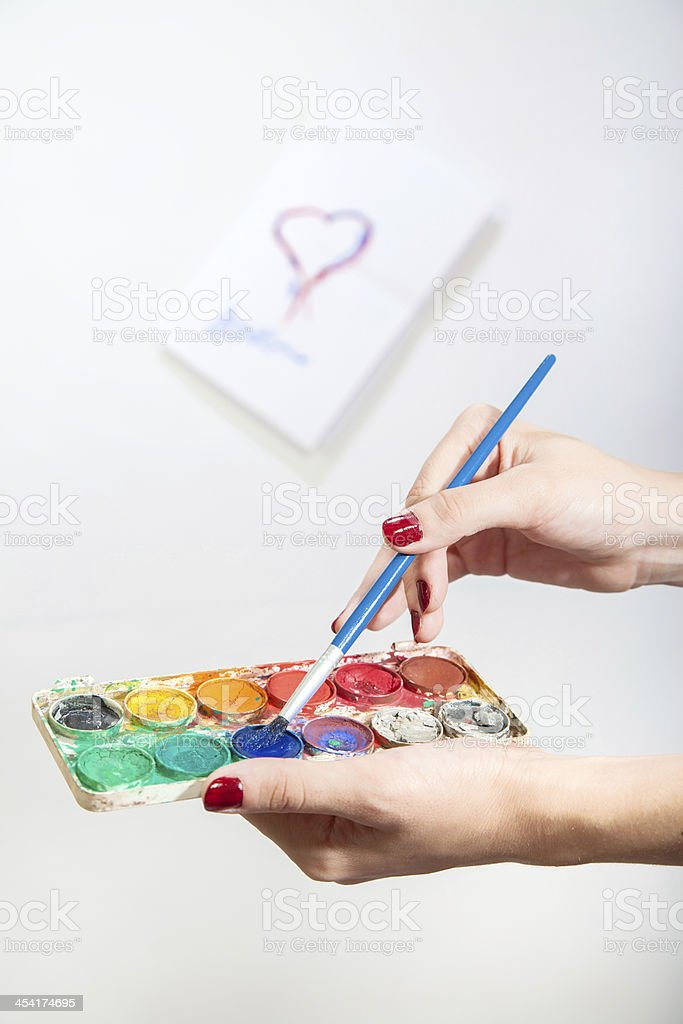 heart and watercolors royalty-free stock photo