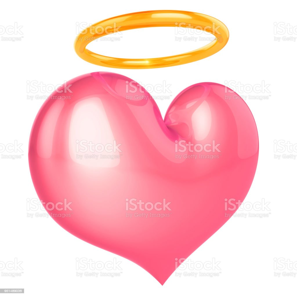 Heart angel saint love God nimb halo pink icon stock photo