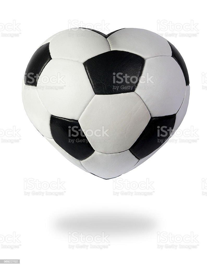 Heart as black white soccer ball royalty-free stock photo