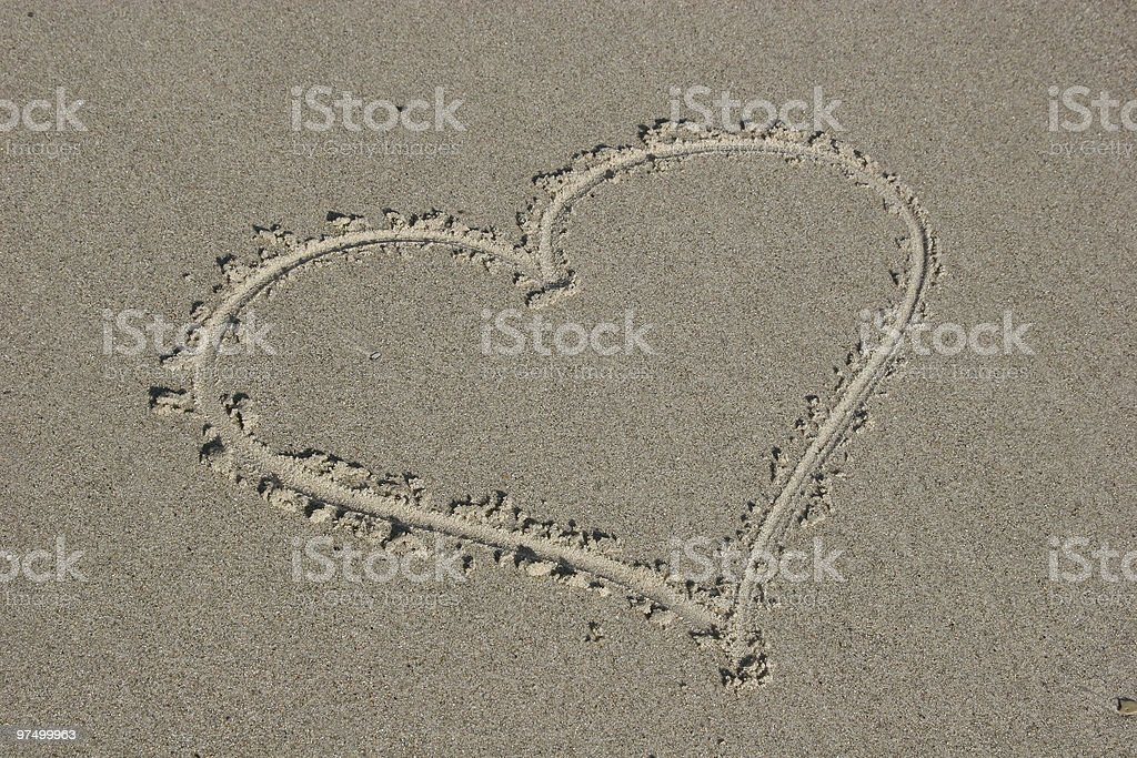 Heart at a beach royalty-free stock photo