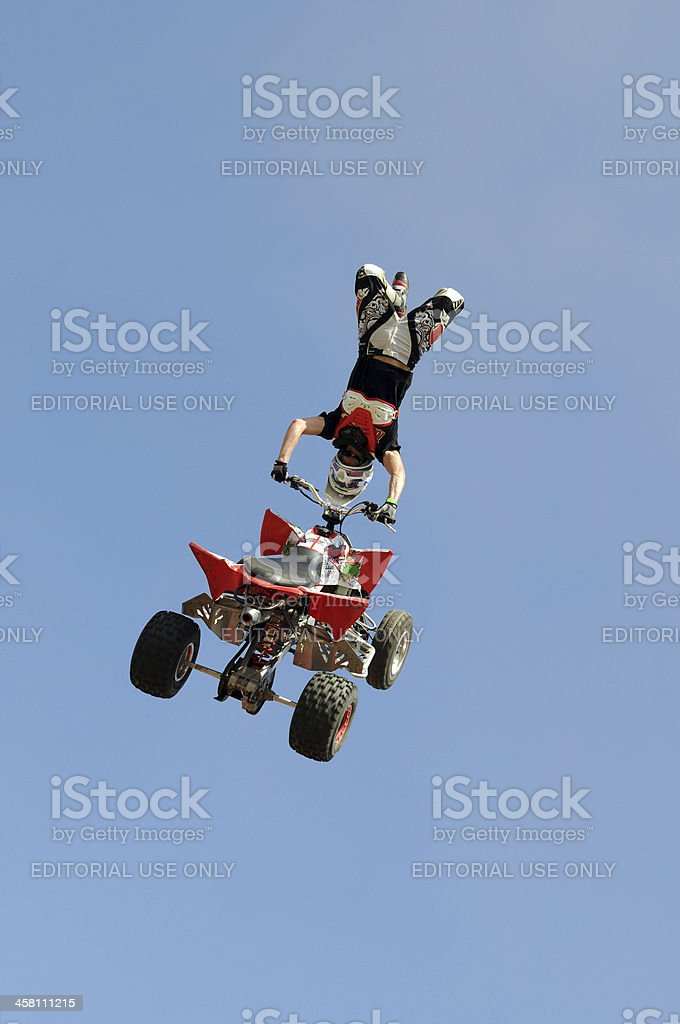 ATV (Quad) Heart Attack Freestyle Jump royalty-free stock photo