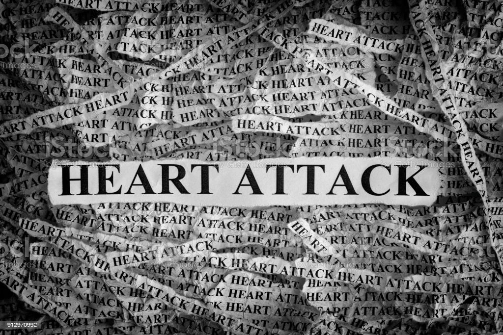 Heart Attack. Torn pieces of paper with the word Heart Attack stock photo