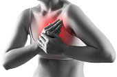 istock Heart attack, woman with chest pain isolated on white background, cardiovascular disease concept 1179601525