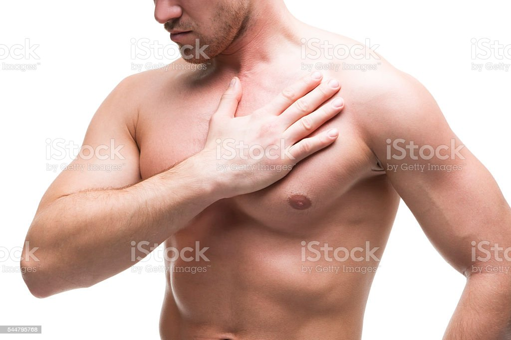 Heart Attack Young Muscular Man With Chest Pain Isolated Stock Photo