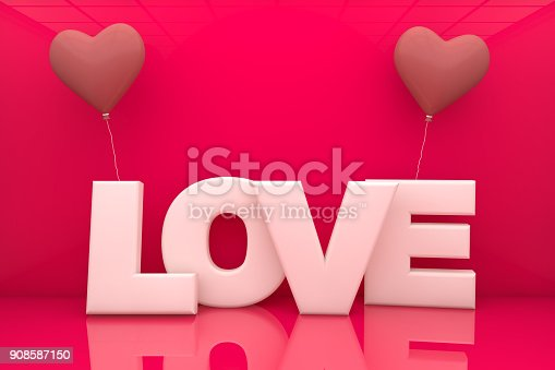 istock Heart Balloons and Love Text 908587150