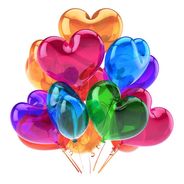 LOVE heart balloons party decor blue orange pink colorful stock photo