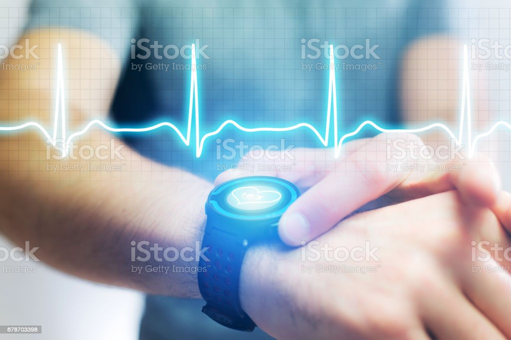 Heart beatment analysing with a smartwatch app interface stock photo