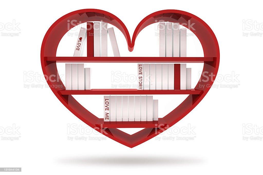 heart bookshelf royalty-free stock photo