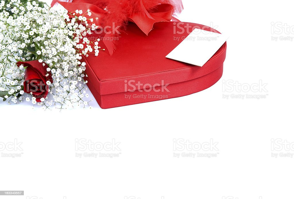 Herz-box und rote rose – Foto