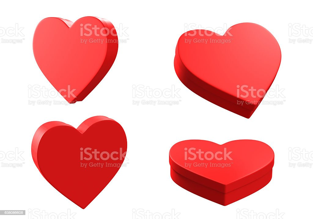 3D heart boxes,isolated on white background - foto de acervo