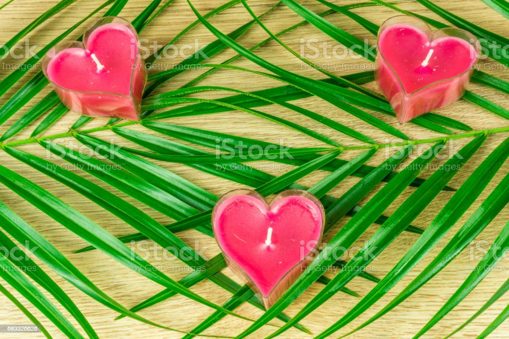 Heart candles with green leaves on a rustic wooden table royalty-free stock photo