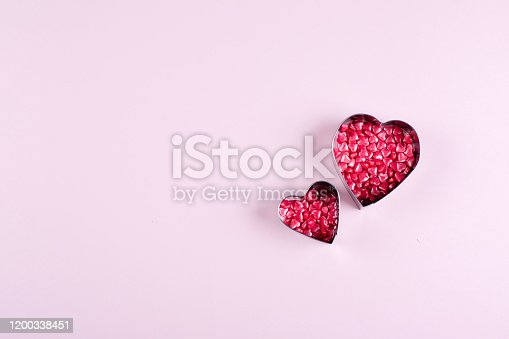 157527860 istock photo Heart Candy background. Valentine's Day Concept. Flat lay, top view, copy space 1200338451