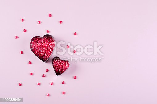 157527860 istock photo Heart Candy background. Valentine's Day Concept. Flat lay, top view, copy space 1200338494