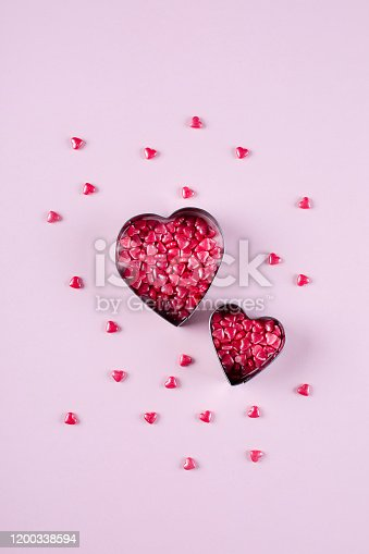 157527860 istock photo Heart Candy background. Valentine's Day Concept. Flat lay, top view, copy space 1200338594